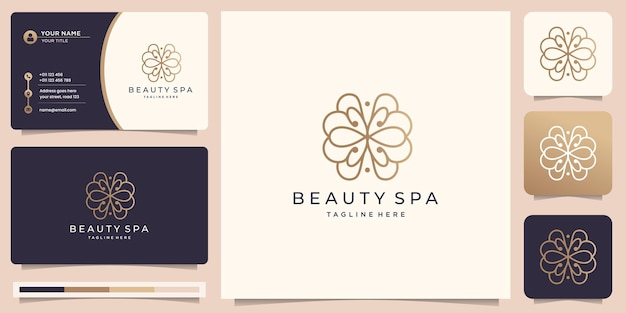 Feminine linear beauty spa logo design. golden floral abstract with business card illustration.