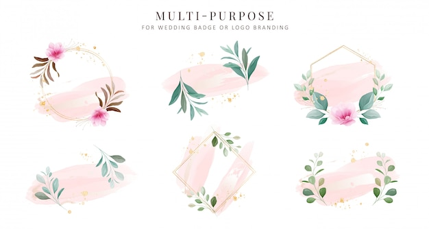 Feminine logo collections. hand drawn modern floral and watercolor badge templates