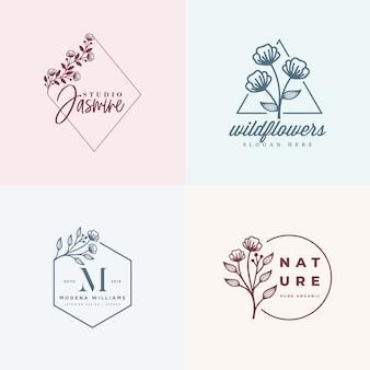 女性のロゴコレクションテンプレート
