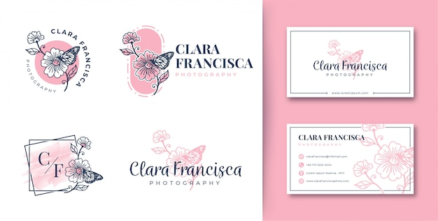 Feminine logo  flower and butterfly collections with business card