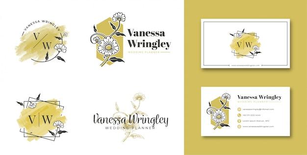 名刺とフェミニンなロゴの花 Premiumベクター