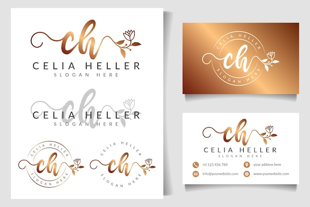 Feminine logo initial ch and business card template