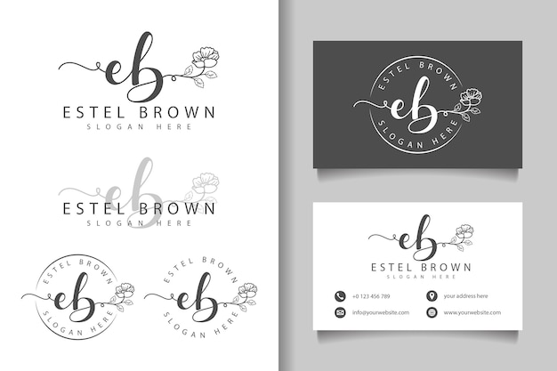 Feminine logo initial eb and business card template