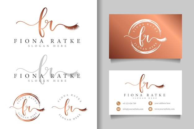 Feminine logo initial fr and business card template