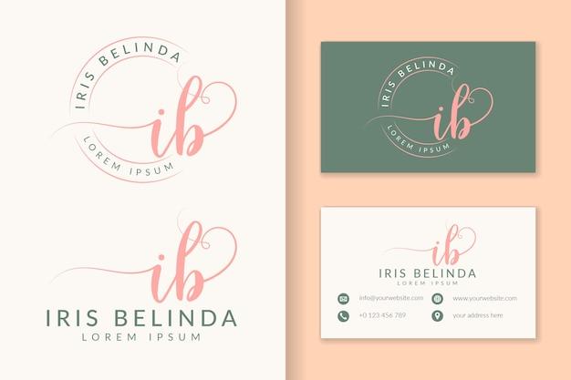 Feminine logo initial ib and business card template