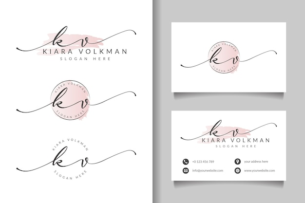 Feminine logo initial kv and business card template