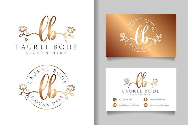 Женский логотип начальный фунт и шаблон визитной карточки