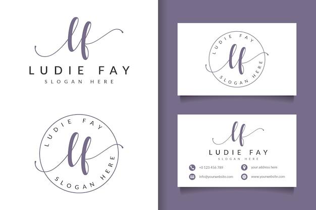 Женский логотип initial lf и шаблон визитной карточки