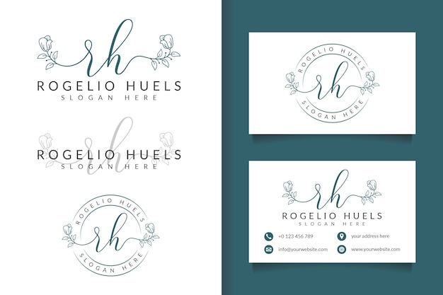 Feminine logo initial rh and business card template