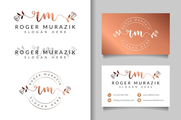 Feminine logo initial rm and business card template