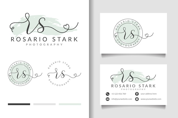 Feminine logo initial rs and business card template