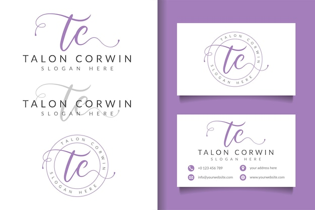 Feminine logo initial tc and business card template