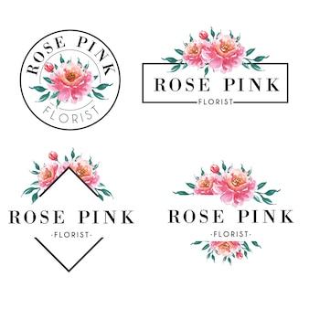 水色のピンクのバラのセット女性のロゴ