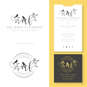 Feminine logo with business card template