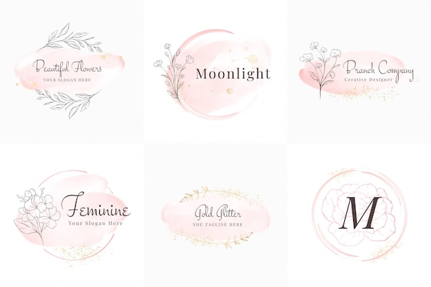 Feminine logos collection, hand drawn modern minimalistic and floral and watercolor badge templates for branding,  identity, boutique, salon