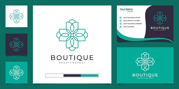 Feminine lotus flower and women face natural symbol logo  and business card
