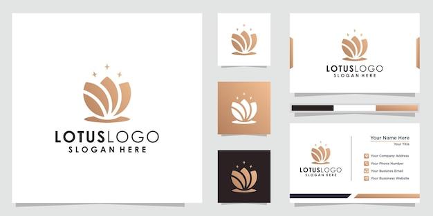 Женский роскошный цветочный логотип лотоса логотип лотоса и дизайн визитной карточки