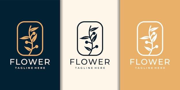 フェミニンな高級オリーブの花のロゴのデザインテンプレート。