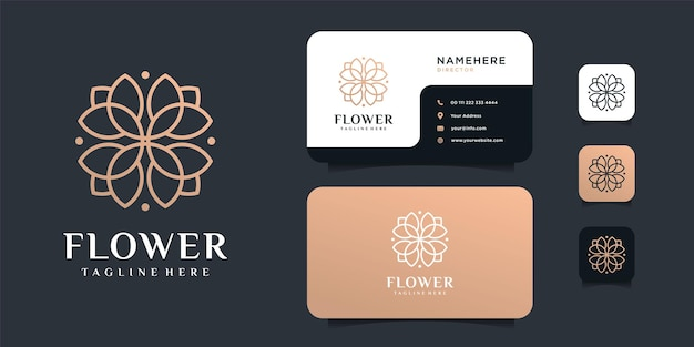 名刺テンプレートを使用したフェミニンなミニマリストの花のロゴデザイン。
