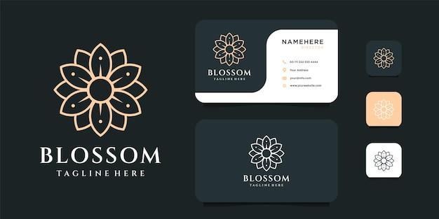 名刺テンプレートとフェミニンなモノグラムの花のロゴのデザイン。