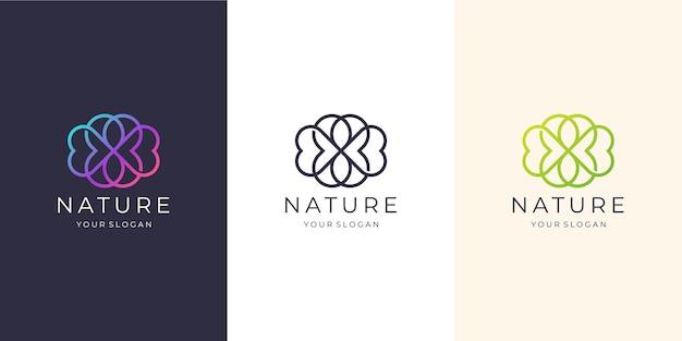 フェミニンなネイチャーラインアートスタイル。ビューティースパ、ネイチャー、スパサロンに適したロゴ、スキンヘア、ビューティー、ブティック、コスメティック、会社。