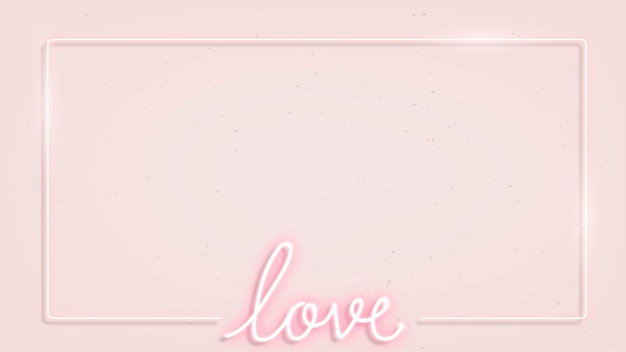 Cornice neon femminile su sfondo rosa