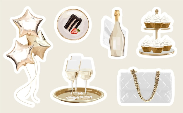 Feminine party stickers set with balloons champagne cupcakes and modern objects