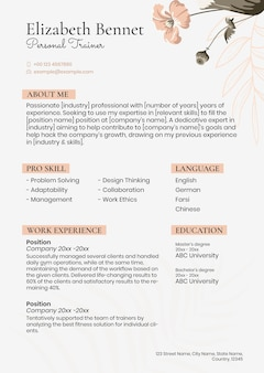 Feminine pastel resume template in floral style