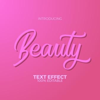여성스러운 핑크 뷰티 편집 가능한 텍스트 효과. 여자와 패션을위한 현대 텍스트