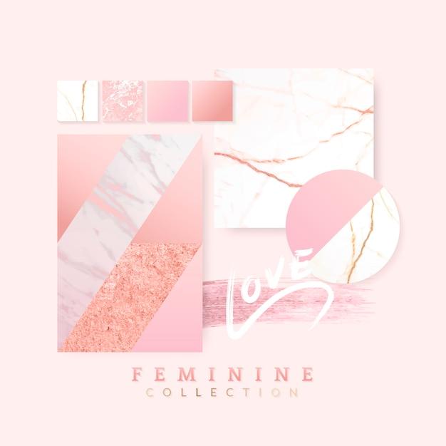 女性らしいピンクのレイアウトデザイン
