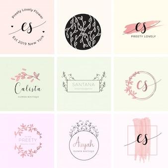 Feminine premade logo bundle branding template