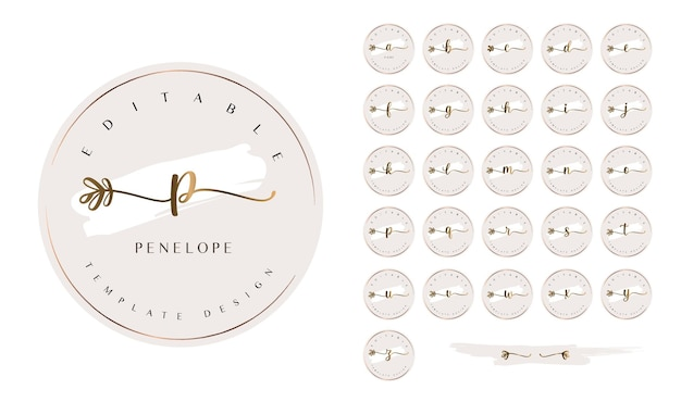 Feminine premade logo kit with alphabet letters and floral calligraphy tails