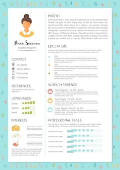 インフォグラフィックデザインでフェミニンな履歴書。女性向けのスタイリッシュなcvセット。