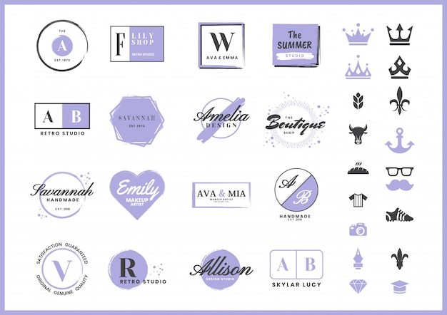 Feminine retro logo for banner