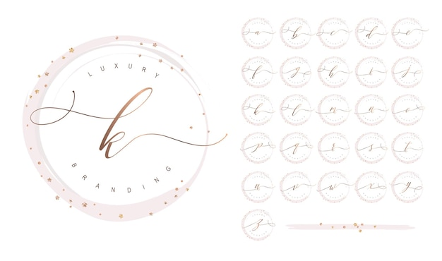 Feminine rose gold logo collection with alphabet letters and glitter elements