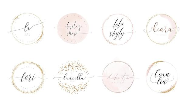 キラキラ紙吹雪とフェミニンなラウンドカリグラフィスタイルのロゴデザイン