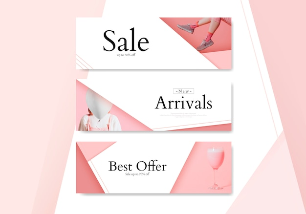 Feminine shopping banner set
