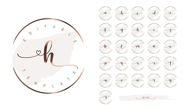Feminine signature business logo design with rose gold alphabet letters and round frame