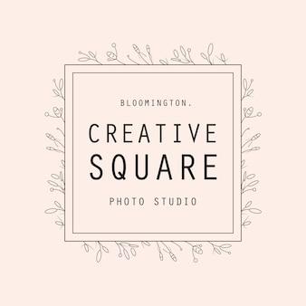 Feminine square flower logo