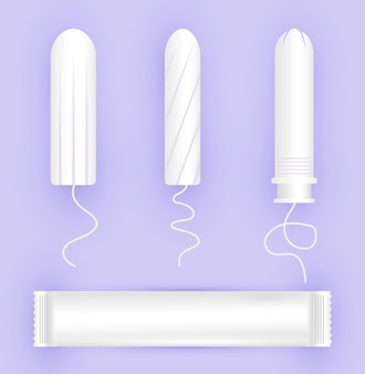 Feminine tampons icon. woman menstrual care. illustration of feminine hygiene products in a flat style.
