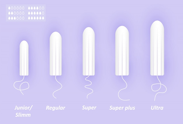 Feminine tampons set. different sizes of cotton swabs. woman menstrual care.  realistic  illustration of intimate hygiene products.