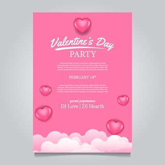 Feminine valentine day party poster