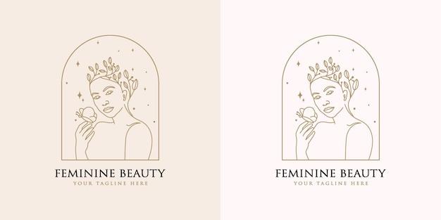 Feminine woman floral beauty face botanical logo for spa salon fashion skin  hair care brand