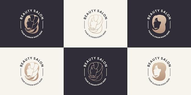 Коллекции женских женских логотипов для салонов красоты, спа, йоги, косметики