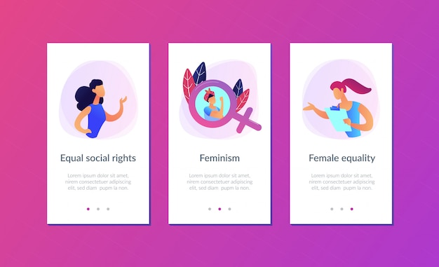 Feminism app interface template.