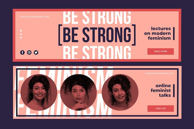 Feminism banners template with photo