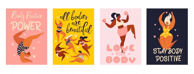Feminism body positive vertical cards.
