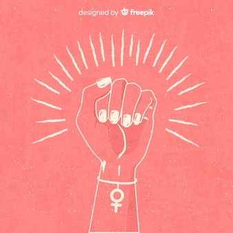 Feminism composition with hand drawn fist