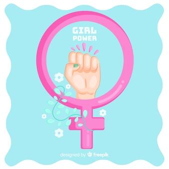 Состав феминизма с ручным рисунком