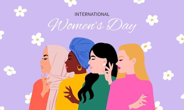 フェミニズムの概念。一緒に異なる人種の女性。幸せな国際女性の日カードのデザイン。フラットスタイル。